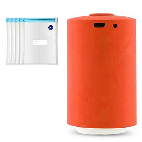 Tenlso Handheld Vacuum Sealer, USB Rechargeable Cordless Mini Pump with 5 Vacuum Zipper Bags and 1 Sealing Clip (Orange)