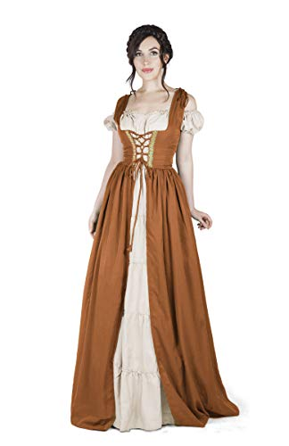 Boho Set Medieval Irish Costume Chemise and Over Dress (S/M, Copper) ()