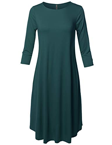 Made by Emma Casual Loose Fit 3/4 Sleeve Round Neck Midi Dress Green S