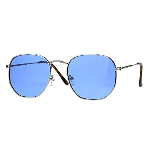 Fashion Sunglasses Thin Metal Hexagon Shape Frame Silver, Blue Lens UV - Glasses Hexagon Frames