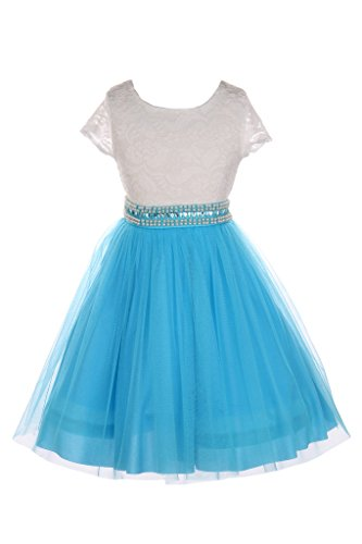 iGirlDress Big Girls Sleeves Lace Tulle Flower Girls Dresses 8 Ivory/ -