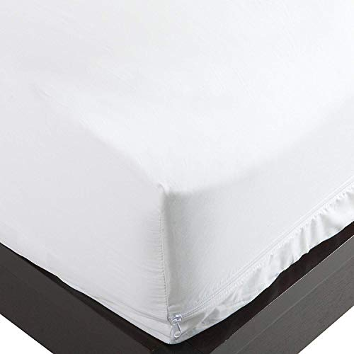 National Allergy 300 Thread Count 100-Percent Cotton Bed Bug, Dust Mite & Allergy Control Mattress Protector, Queen 16-inch, White