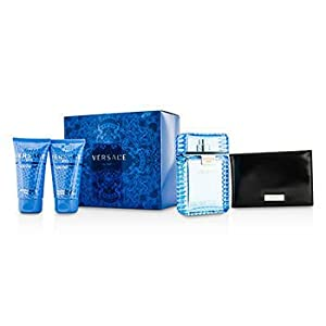 Versace Man Eau Fraiche by Versace for Men 4 Piece Set Includes: 3.4 oz Eau de Toilette Spray + 1.7 oz After Shave Balm + 1.7 oz Bath & Shower Gel + Versace Wallet