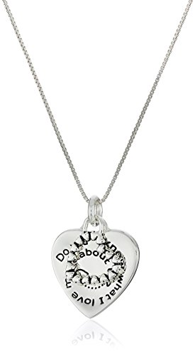 "Sterling Silver ""Do You Know What I Love Most About Us? You!"" with Double Hearts Reversible Pendant Necklace , 18"""