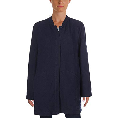 Eileen Fisher Womens Fall Textured Jacket Navy L
