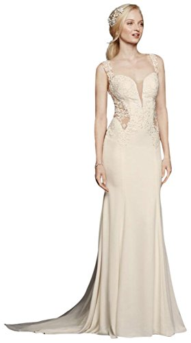 Crepe Beaded Lace Wedding Dress with Illusion Details Style SWG725, Ivory, 6