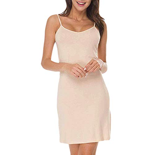 Rexinte Women Casual Solid V-Neck Strap Dress Slim Sleep Chemise Nightdress Mini Dresses(Beige,L