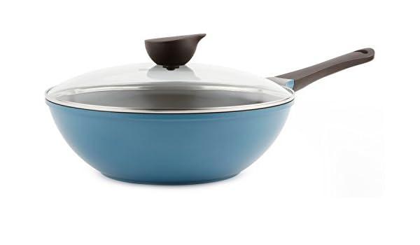 Wok cacerola de la (Chef) con tapa de cristal - 30 cm antiadherente de cerámica en color azul por Neoflam por Neoflam: Amazon.es: Hogar