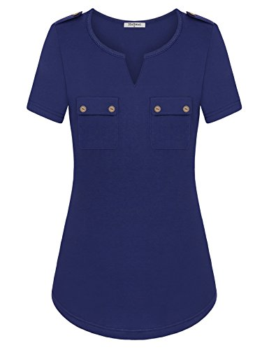 Chest Pocket Lightweight Pullover - Hellmei Oversized Blouse, Stylish V Neck Tunic Top Blouses Chic Pocket Sexy Basic Fitted Flattering Business Career Shirts Blouses(Blue,Large)