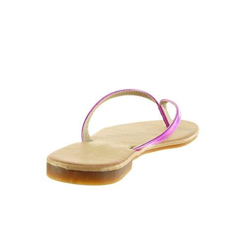 5 Sandálias Centímetros Flip Brilhante 1 Fushia Angkorly Sapatos Senhoras Calcanhar Bloco flops OWqz1qn