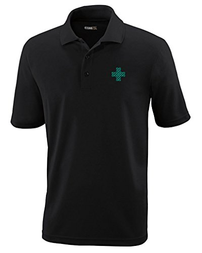 Celtic Cross Adult T-shirt - Celtic Cross Style 3 Embroidery Design Adult Button-End Spread Short Sleeve Unisex Polyester Performance Polo Shirt Golf Shirt - Black, 2X Large