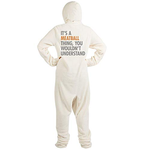 CafePress Meatball Thing Novelty Footed Pajamas, Funny Adult One-Piece PJ Sleepwear Creme