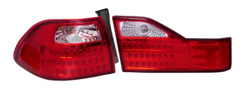 Depo 317-1327FXASVCR Honda Accord Sedan Chrome LED Tail Light with Clear/Red - Honda Depo Led Accord Tail