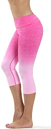 Prolific Health Fitness Power Flex Yoga Pants Leggings – All Colors – XS – XL (Large, Capri Ombre LIGHT PINK)