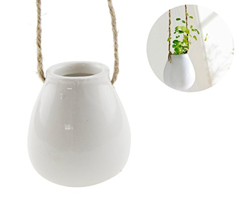- Unigift Small Hanging Pot Ceramic Plant Planter Decorative Flower Vase Stoneware Pottery Planter
