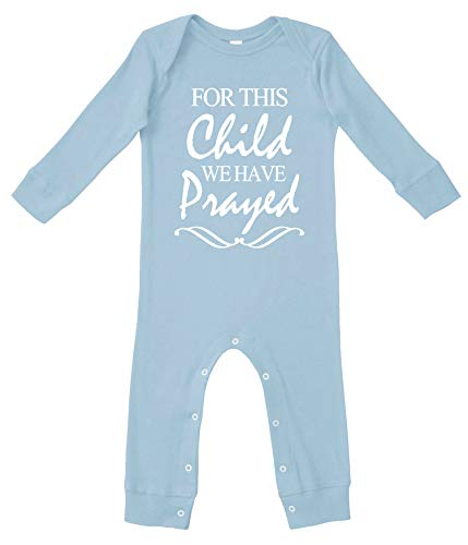 Reaxion Cute Baby Boy & Baby Girl Clothes | Handmade Infant Bodysuits for Christening or Baptism | for This Child (6 Months Pajamas, Lt Blue Sleepwear)
