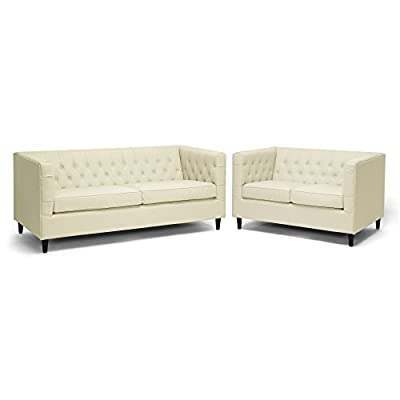 Baxton Studio Darrow Modern Leather Sofa Set