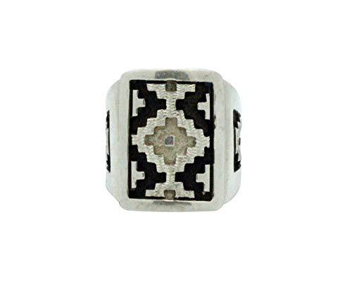 Dan Jackson, Ring, Rug Design, Overlay, Sterling Silver, Navajo Handmade, 10