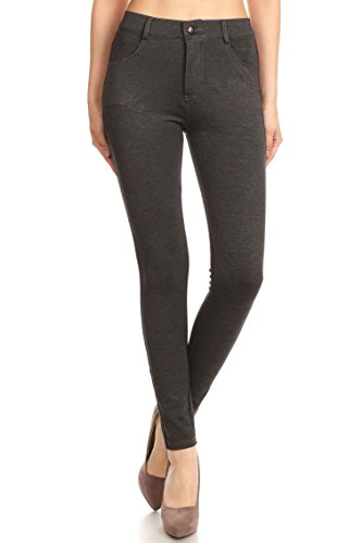 Dress Charcoal Pants Gray (ICONOFLASH Women's Ponte Knit Dress Pants (Heather Charcoal, 2XL))