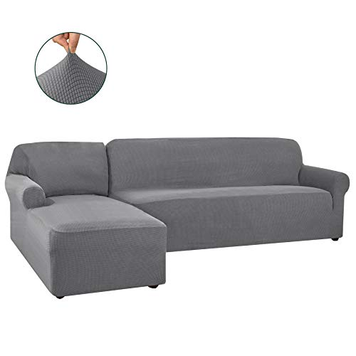 CHUN YI 2 Pieces L-Shaped Left Chaise Jacquard Polyester Stretch Fabric Sectional Sofa Slipcovers Dust-Proof L Shape Corner 2 Seats Sofa Cover Set for Living Room (Light Gray)