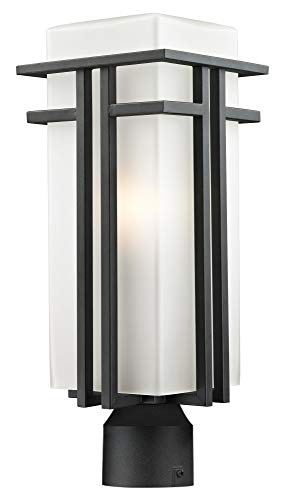 Abbey Post Lantern - Z-Lite 549PHB-BK-R Outdoor Post Light with Matte Opal shade, Aluminum Frame
