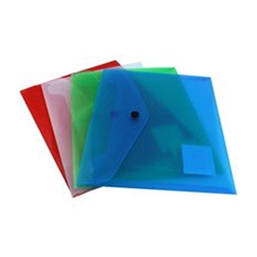 4 x A5 Popper Stud Wallet Envelopes Plastic Document Folders Assorted KF03609 Q Connect