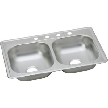 Elkay K23322MR2 Kingsford 23 Gauge Stainless Steel Double Bowl Top Mount Kitchen Sink, 33 x 22 x 6.0625'' by Elkay