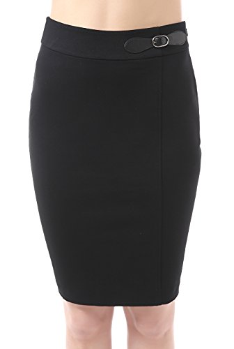 phistic Women's Kensie Buckle Detail Ponte Pencil Skirt - Black 10 (Buckle Pencil Skirt)