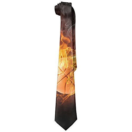 HenSLK Basketball Fire Flame Men's Fashion Polyester Solid Silk Tie Necktie