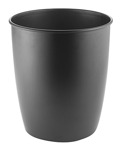 mDesign Round Metal Small Trash Can Wastebasket, Garbage Container Bin for Bathrooms, Powder Rooms, Kitchens, Home Offices - Durable Steel with Matte Black Finish