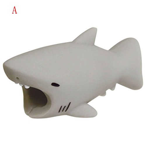 RedBrowm Cable Bite Protector for Iphone phone cord Winder organizer Accessory Protects Cable chomper Animal funny model (shark) ()