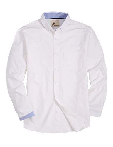 - MensCasualButtonDownDressShirtLongSleeve Cotton RegularFitOxfordShirts (OX-White, XL)
