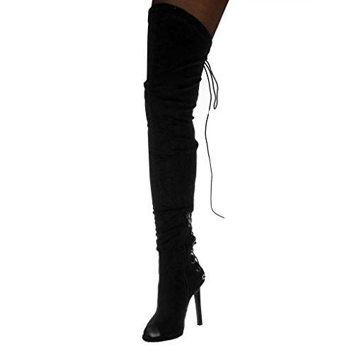 Angkorly Damen Schuhe Oberschenkel-Boot Stiefel - Stiletto - Peep-Toe - Flexible - Spitze Stiletto High Heel 11 cm Schwarz