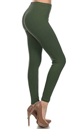 Leggings Depot Ultra Soft Basic Solid Plain Best Seller Leggings Pants (One Size (Size 0-12), Olive)