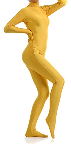 [VSVO Unisex Skin-Tight Spandex Full Body Suit for Adults and Children (Small, Yellow)] (Yellow Morphsuit)