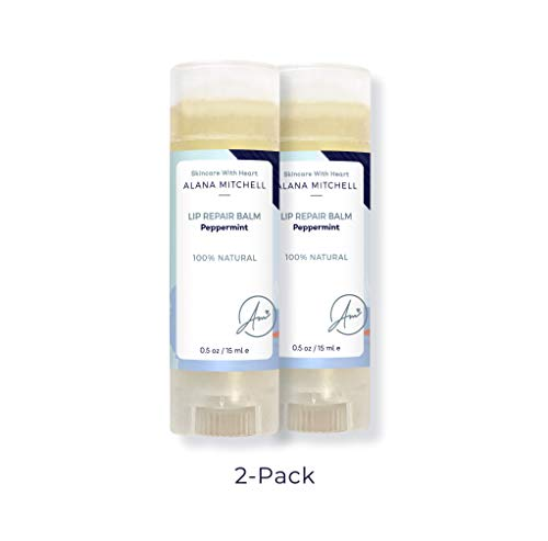 Soothing, Moisturizing & Repairing Lip Balm, Cooling Peppermint Flavor by Alana Mitchell .5oz