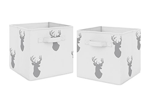 Grey Deer Foldable Fabric Storage Cube Bins Boxes Organizer Toys Kids Baby Childrens for Woodland Deer Stag Collection by Sweet Jojo Designs - Set of 2 from Sweet Jojo Designs