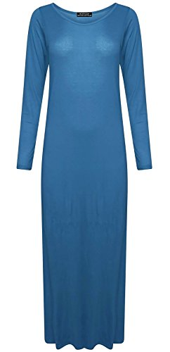 Ladies Jersey Maxi Dress Womens Plain Long Sleeves Flared Stretchy Dress#(Teal Plain Jersey Maxi Dress#US 14-16#Womens) -