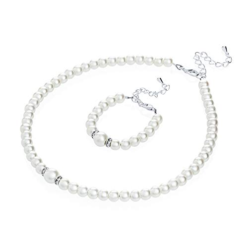 (Crystal Dream Elegant White Simulated Pearl Necklace and Bracelet Stylish Gift Set Children & Women (GS-P-W-L))
