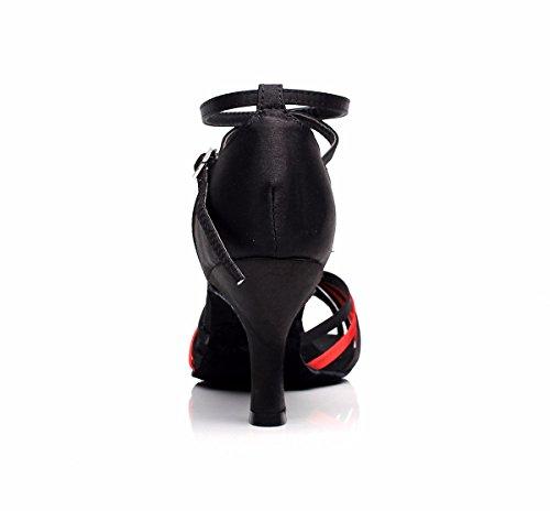 Noir Chaussures mousseuses synthétiques danse latines Argent et Or de cubes DQuietness Multi femme and pour Red Paillette Chaussures Talons Black couleurs O8d7gw