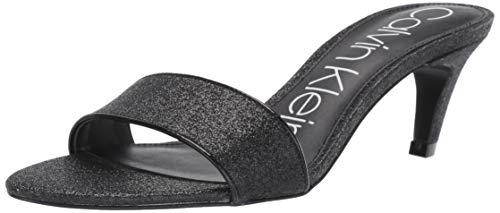 Calvin Klein Women's Gallia Heeled Sandal Black Dusty Glitter 7 M US