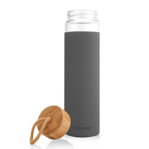 dbc71b46b8 Tronco 20oz Glass Water Bottle with Silicone Protective Sleeve and Bamboo  Lid - BPA Free