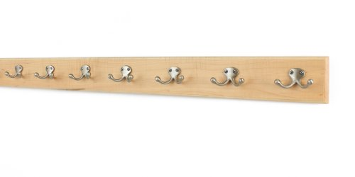 """Maple Coat Rack with Satin Nickel Double Style Hooks (Natural, 36"""" x 3.5 with 7 hooks)"""