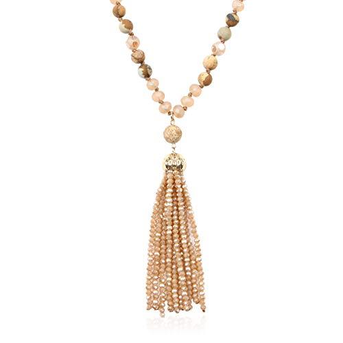 RIAH FASHION Bohemian Pendant Beaded Long Statement Necklace - Sparkly Crystal Bead Boho Teardrop, Natural Stone, Tassel Charm Wrap Lariat (Beaded Tassel - Light Brown)