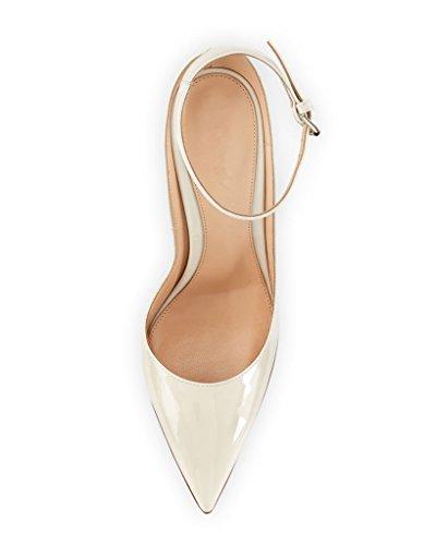 Pointu Cheville Coupé Fermé Chaussure Escarpins Talon Edefs Blanc Boucle Brillant Femme Aiguille Bout wvABXnxgq