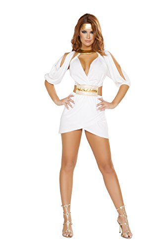 Aphrodite Dress Mini (2 Piece Greek Goddess Aphrodite Mini Dress w/ Headpiece Party Costume)