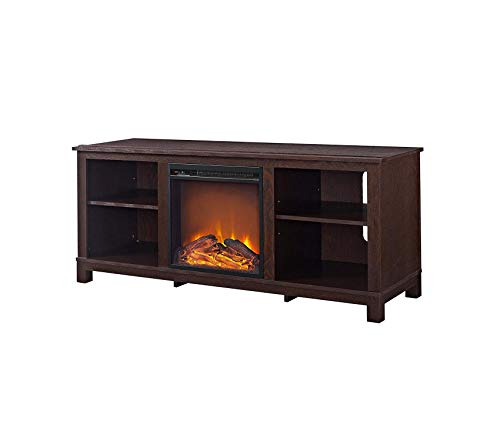 Wood & Style Edgewood TV Console with Fireplace for TVs up to 60in Espresso Decor Comfy Living Furniture Deluxe Premium Collection
