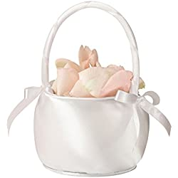 Lillian Rose Simple Elegant Off White Satin Flower Girl Basket