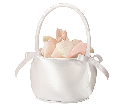 Lillian Rose Satin Flower Basket, 7-Inch, Off White