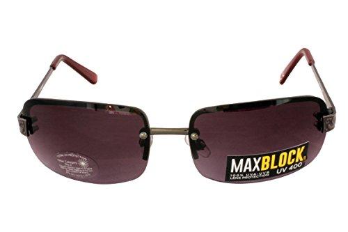 Foster Grant FG73 Women's Rectangular Style Sunglasses Marcasite Design Metal Arms Brown Rimless Lenses 10% UV Protection CAT 3
